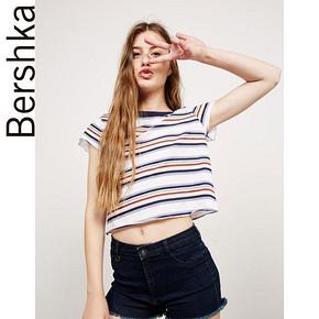 Bershka BSK 女士条纹短款T恤衫 48元