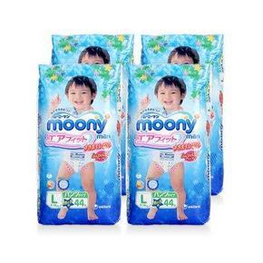 超值组合# moony 尤妮佳 男宝宝拉拉裤 L 44片*4包 313.4元包邮(298-20+35.4)