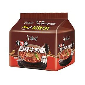 康师傅 经典系列 酸辣牛肉味方便面 五连包 9.9元
