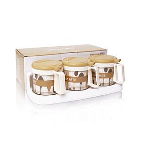 厨房好伙伴# 茶花 玻璃调味罐三组套装 14.9元包邮(19.9-5券)