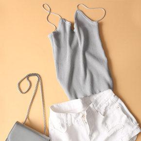 多色可选# YCMS 短款修身百搭针织吊带背心 折15元包邮(买2免1)