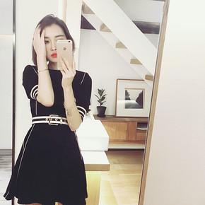 黑白配# 欧惑 收腰中袖黑色连衣裙 109元包邮