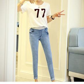 收腿提臀# 红笛格 韩版显瘦弹力九分牛仔裤 38元包邮