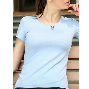 折10元/件# CTNR 女士短袖莱卡棉圆领T恤 3件 29.9元包邮(129.9-100券)