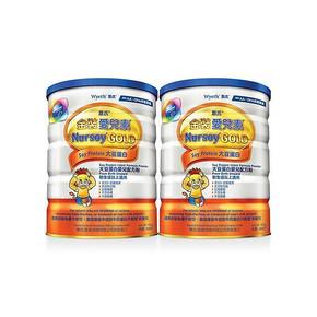港版 Wyeth惠氏 金装爱儿素配方奶粉 900g*2罐 100.8元包邮(99-10券+11.8)