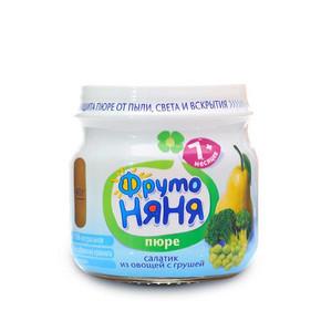 俄罗斯进口 ABK 宝宝辅食梨子豌豆果泥 80gx5瓶装 27.9元包邮