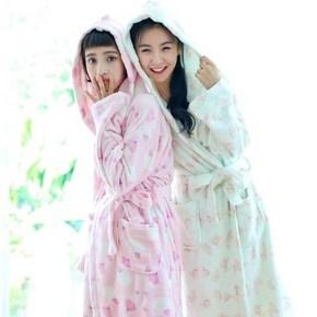 睡美人# dahua home 秋冬女士珊瑚绒连帽睡袍 29.9元包邮(69.9-40券)