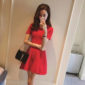 明星同款# 卡贝琳 小香风红色针织连衣裙 89元包邮