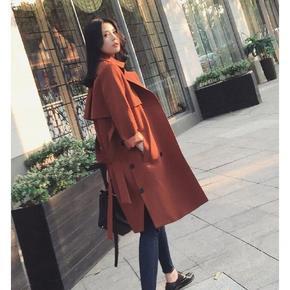 优雅大气# 尤曼迪 韩版时尚中长款双排扣宽松风衣 138元包邮