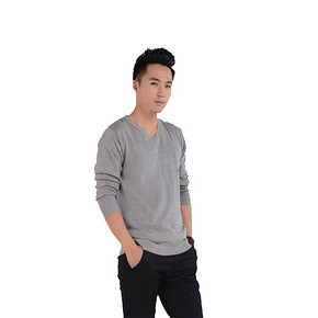 超多颜色可选# bebeeru 男士修身V领针织衫 19.9元包邮(29.9-10券)