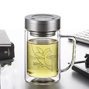 折6.6元/个# 富光 双层泡茶玻璃杯320ml*3个 19.7元(59.7-40券)