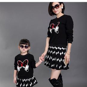 母女同款# 宝贝响当当 韩版时尚卫衣短裙母女套装 49元包邮