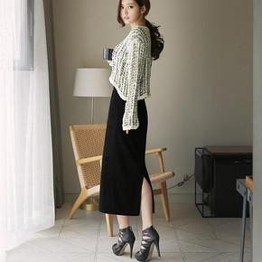 前5分钟# 范茜玟 韩版后开叉修身半身裙 28元包邮(48-20)
