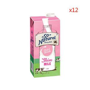 So Natural 脱脂UHT牛奶 1Lx12盒*2件+凑单 111.1元包邮(199.3+11.8-100)