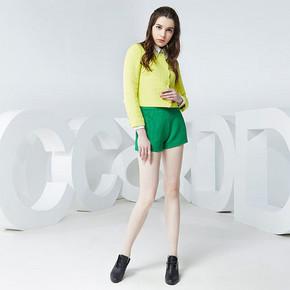 CCDD 春秋弹力短裤阔腿裤 绿色 29元包邮(39-10券)