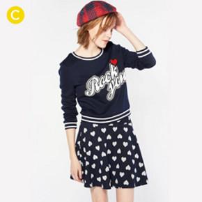 cachecache 可爱心型图案宽松裙摆两件套 69.9元包邮