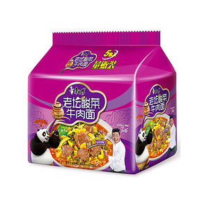 康师傅 经典系列 老坛酸菜牛肉面 五连包 9.9元