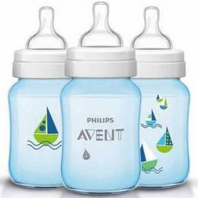 AVENT 新安怡 蓝色帆船PP奶瓶 1个月以上 260ml 折29元(39,买3免1)
