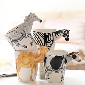 明星同款# 铂玉 3D立体动物杯马克杯 400ml  13元包邮(16-3券)