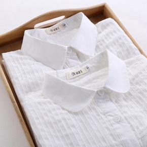 文艺气息# 萨瓦纳 小清新纯色长袖白衬衫 35元包邮