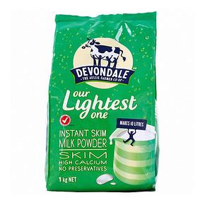 澳洲德运 脱脂成人奶粉 1kg*3袋+全脂奶粉1kg  120.4元包邮(207.6-100+12.8)