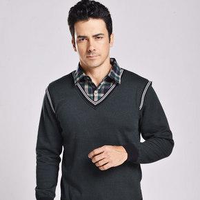 加绒加厚#北极绒 男款时尚加绒假两件衬衫 39元包邮(89-50券)