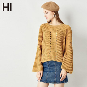 HI 秋装韩版纯色镂空喇叭袖毛衣 79元包邮(99-20券)
