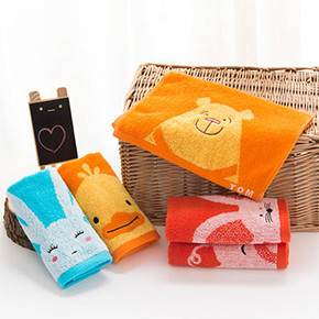 前3分钟半价# 洁丽雅 纯棉儿童卡通面巾 1条装 2.5元包邮(5-2.5)