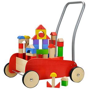 特宝儿 红色木制推车二合一婴儿学步车 95.4元包邮(159-63.6)