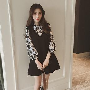 夏菱 长袖衬衫假两件连衣裙  39.9元包邮(69.9-30券)