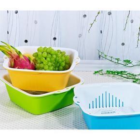 厨房必备# 茶花 双层塑料沥水篮 三个装 29.9元包邮
