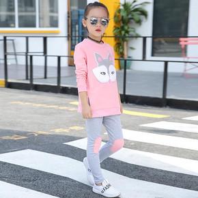 宝贝美衣# 明优 中大女童韩版卡通运动套装 38.8元包邮(48.8-10券)
