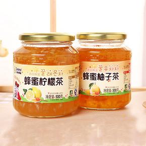 东大韩 金蜂蜜柚子茶500g+柠檬茶500g 19.8元包邮(34.8-15券)