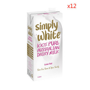 Simply white 低脂UHT牛奶 1L*12盒 56.5元(49.9+6.6)