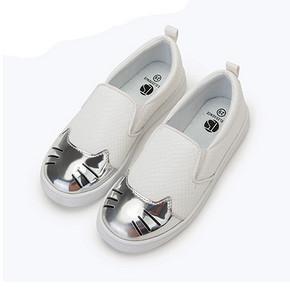 桃涩 儿童猫咪一脚蹬休闲小白鞋 39元包邮(69-30券)