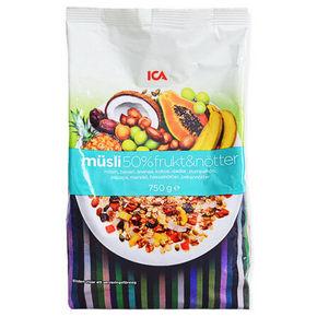 瑞典进口 ICA 50%s水果坚果麦片 750g 37.5元(32.9+4.6)