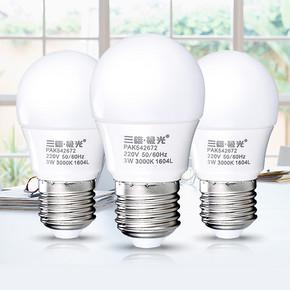 单纯的组合# 三雄极光 LED灯泡+送洁柔抽纸3包 5.1元包邮(8.1-3券)