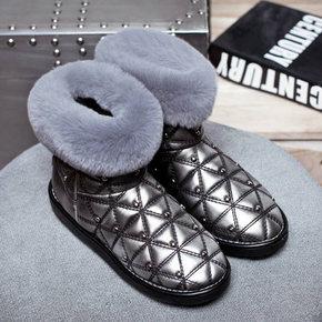 美到没朋友# 莫蕾蔻蕾 铆钉格兔绒雪地靴 88元包邮(168-80券)