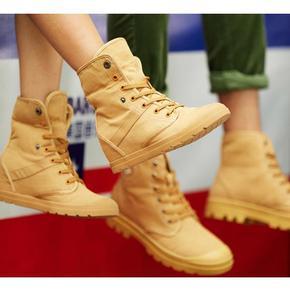 工装风格# 思威琪 男女欧美高帮内增高帆布鞋 29.9元包邮(109.9-80券)
