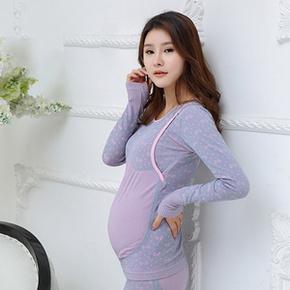 孕妈必备# 韩杰美 孕妇哺乳打底套装 送宝宝袜 35元包邮(65-30券)