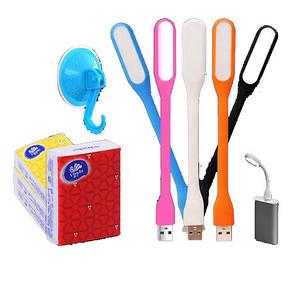 小白菜# 索莱德 USB小灯*1个+吸盘挂钩2个+维达手帕纸6包 3元包邮