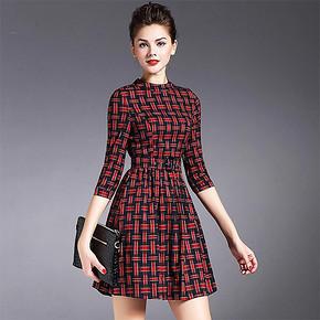 北欧风 英伦收腰经典红格子七分袖连衣裙 118元包邮(268-150券)