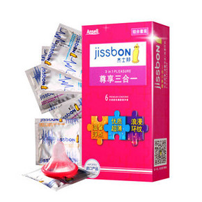啪啪党福利# 杰士邦 尊享三合一 超薄避孕套 6只装 3.9元包邮(13.9-10券)