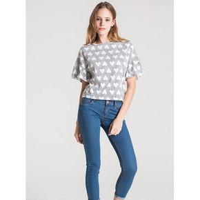 C&A 女式桃心印花喇叭袖T恤 39元包邮