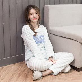 温暖居家# HZR 法兰绒加厚女睡衣套装 24元包邮(39-15券)