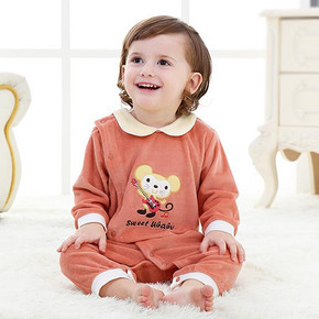 于贝贝 婴儿春装保暖长袖连体衣 19.9元包邮(49.9-30券)
