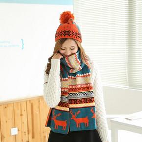 幽情秀 女生冬季帽子围巾针织毛线两件套 19.9元包邮(59.9-40券)