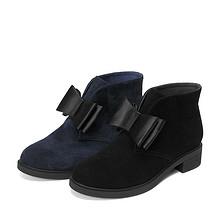 甜美起来# 天美意 冬季羊绒蝴蝶结短靴 288元包邮(298-10券)