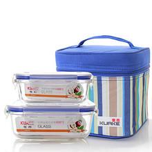 微波炉专用# 夸克 耐热玻璃饭盒套装 赠保温包 24.9元包邮(29.9-5券)