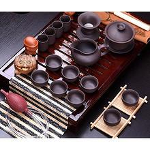 静品香茗# 豪峰 实木茶盘+紫砂茶具套装 49元包邮(99-50券)